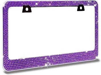 3 Rows Purple Crystal Rhinestone on Black License Frame with Swarovski Elements