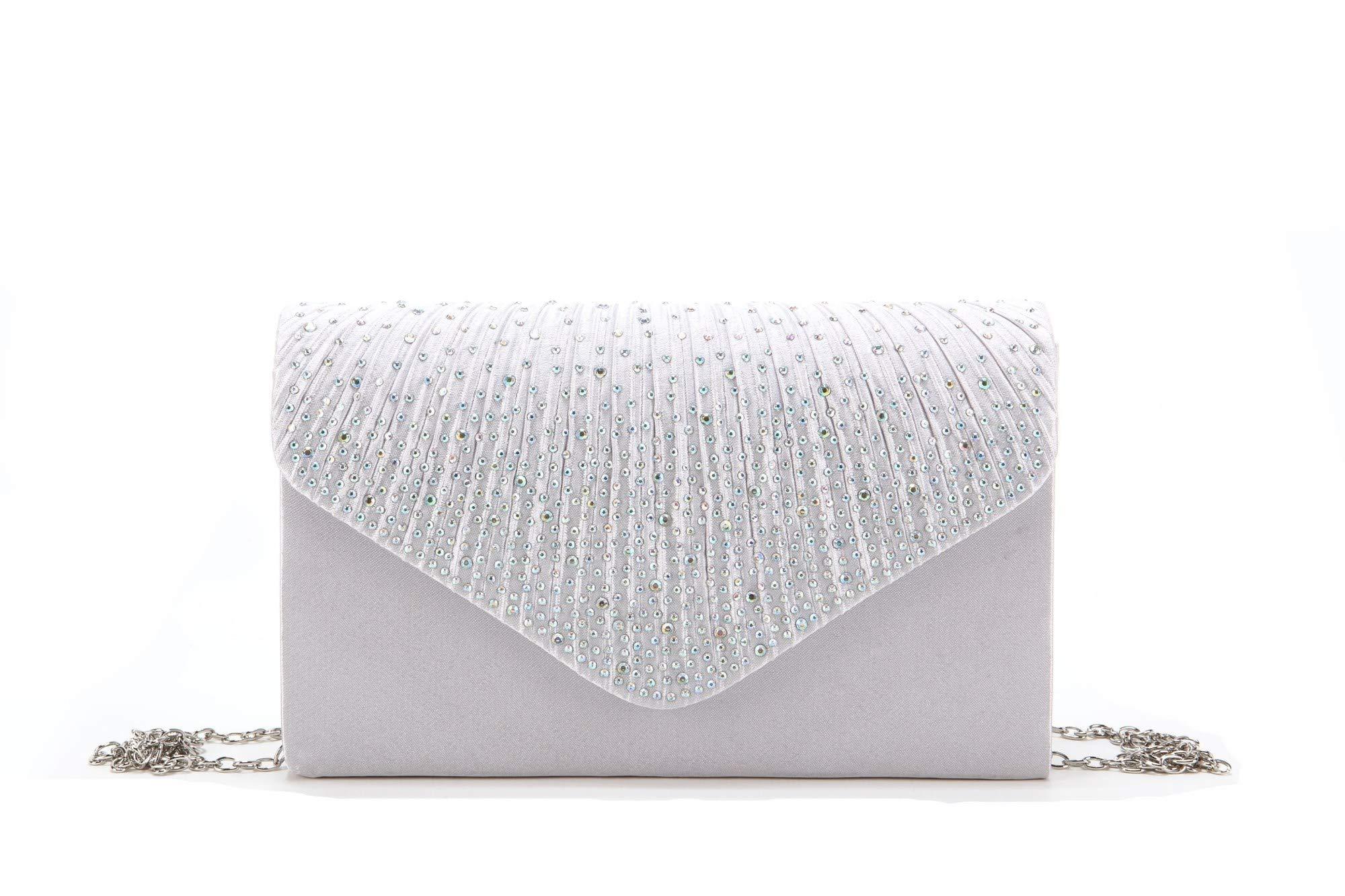 d1a2f8b8d822 Nodykka Women Evening Envelope Rhinestone Frosted Handbag Party Bridal  Clutch Purse Shoulder Cross Body Bag