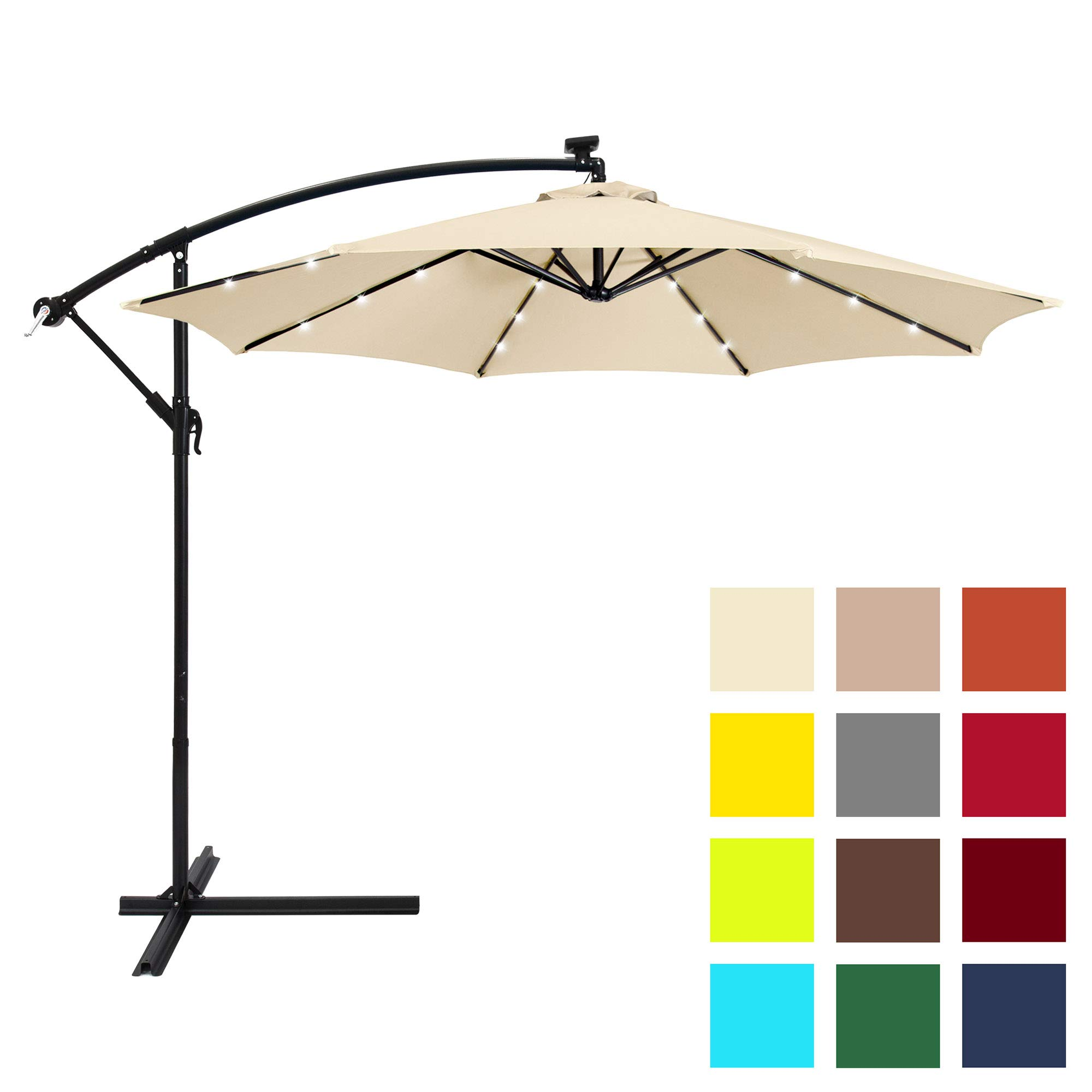 Best Choice Products 10ft Solar LED Patio Offset Umbrella w/Easy Tilt Adjustment - Light Beige