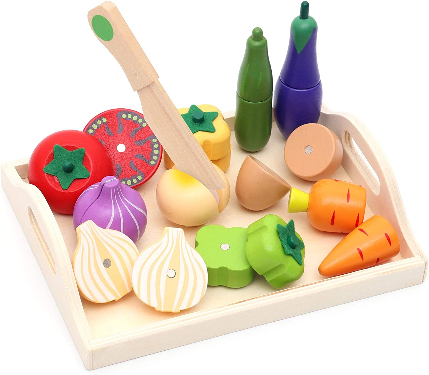 Fondear Children's Magnetic Vegetable Cutting Play Set / Simulated Kitchen / Wooden Play Set of Fruits, Knife & Case, Natural & Non-toxic, Best Gift for Kids' Birthday