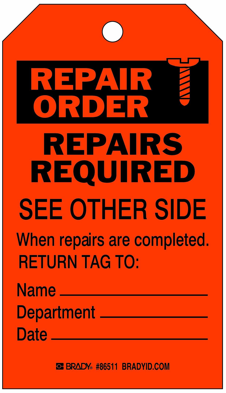 Brady  86511 7'' Height x 4'' Width, Heavy Duty Polyester (B-837), Black on Orange Inspection & Material Control Tags (10 Tags) by Brady