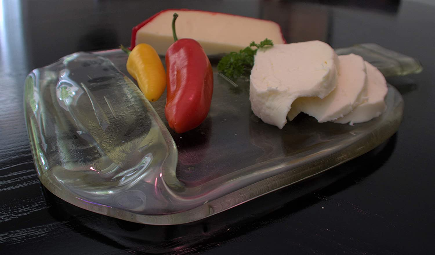 1.75 liter Woodford Reserve Bourbon Whiskey bottle Slumped into a Cutting Board or Cheese Tray
