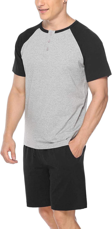 Men/'s Short Sleeve Shorts Pajamas Set Casual Loose Sleepwear Loungewear Homewear