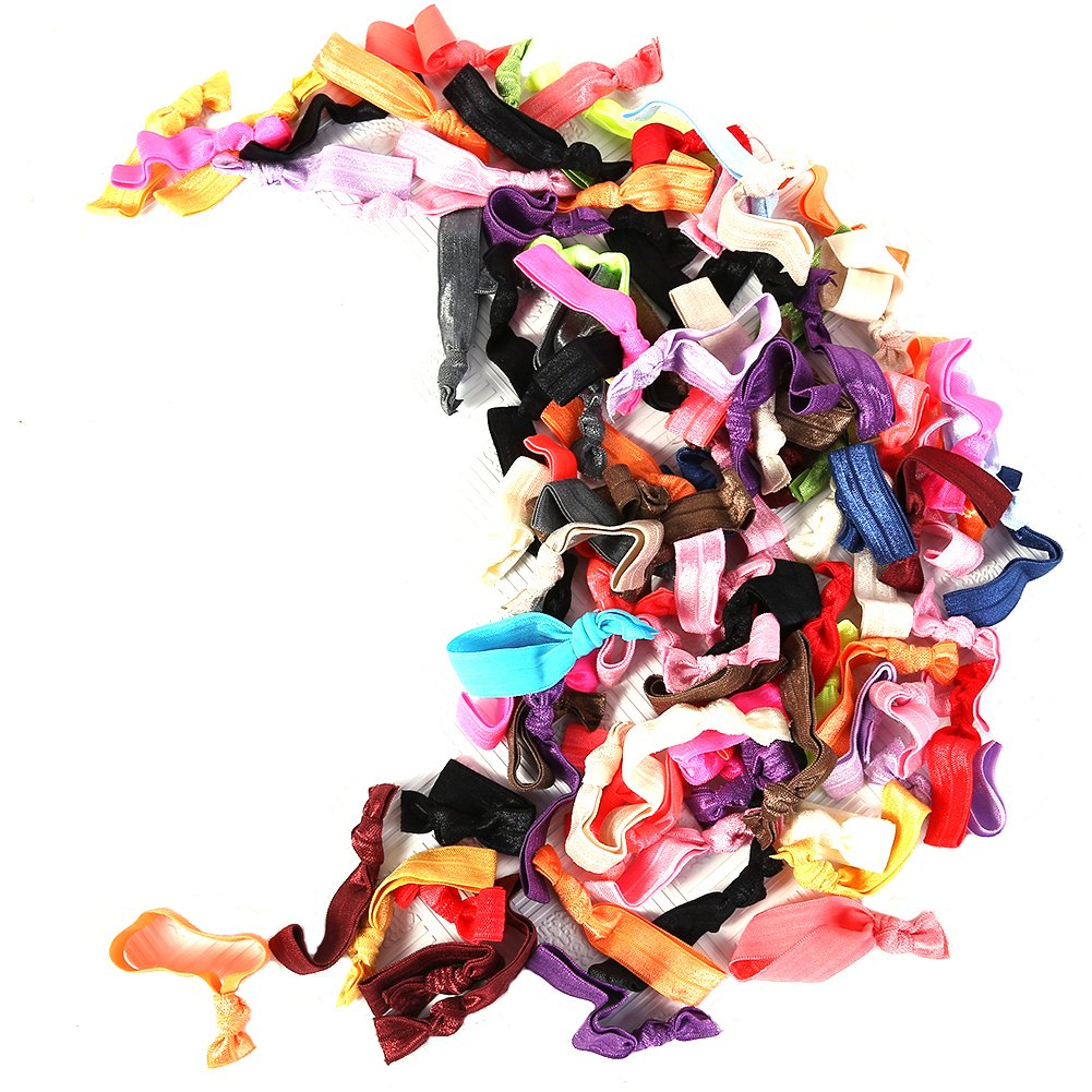100PCS Hair Ties, Multicolor Elastic Ponytail Holders No Crease Hand Knotted Headwear For Women Girls