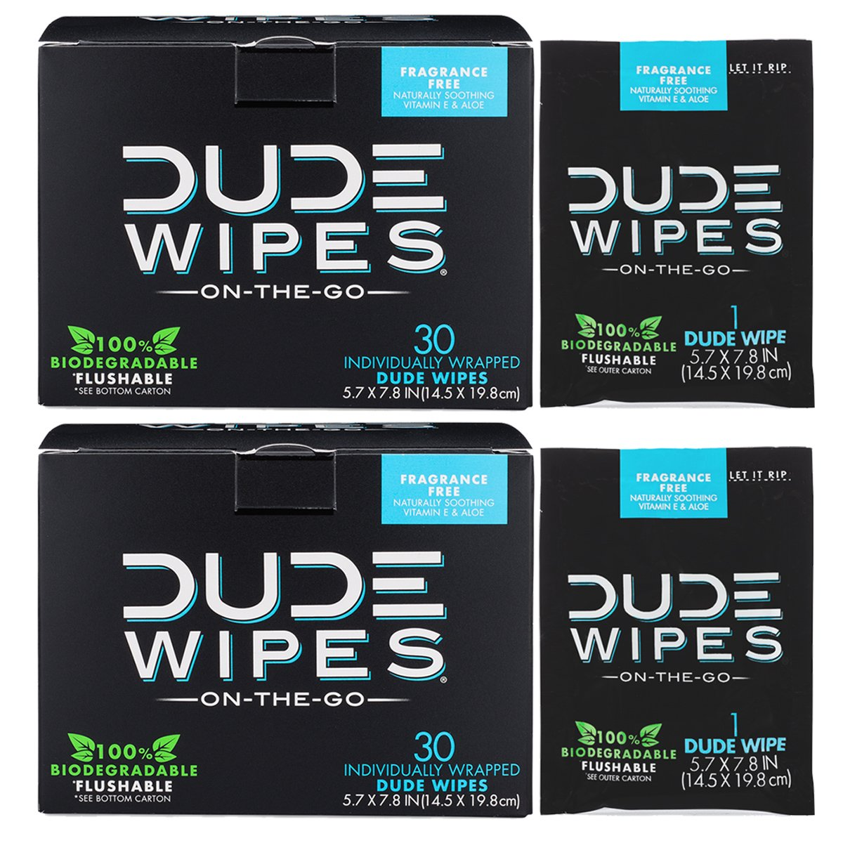 DUDE Wipes Flushable Single Wipes for Travel, Unscented with Vitamin-E & Aloe, 100% Biodegradable (2 Packs, 30 Individually Wrapped Wipes Each)