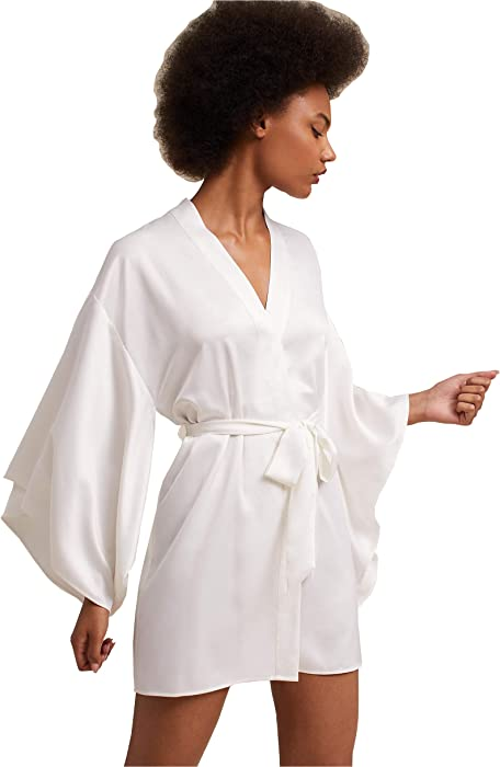 e5afd8bb9e Kelaixiang Womens Satin Robes Bridal Wedding Party Loungewear Bride  Nightgown Long Bathrobe Pajamas Sleepwear with Belt