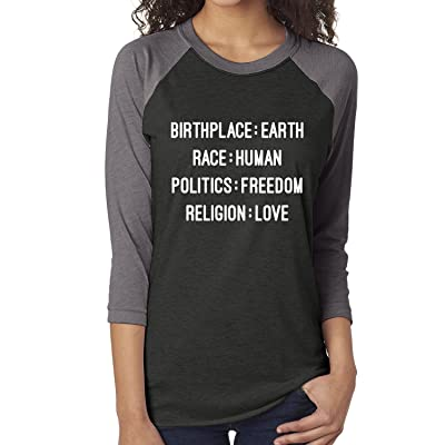 Birthplace:Earth Race:Human Politics:Freedom Unisex Baseball Raglan Tee