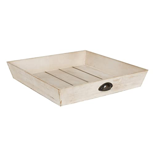 Kate and Laurel Woodmont Distressed Wood Square Ottoman Tray, Antique-White