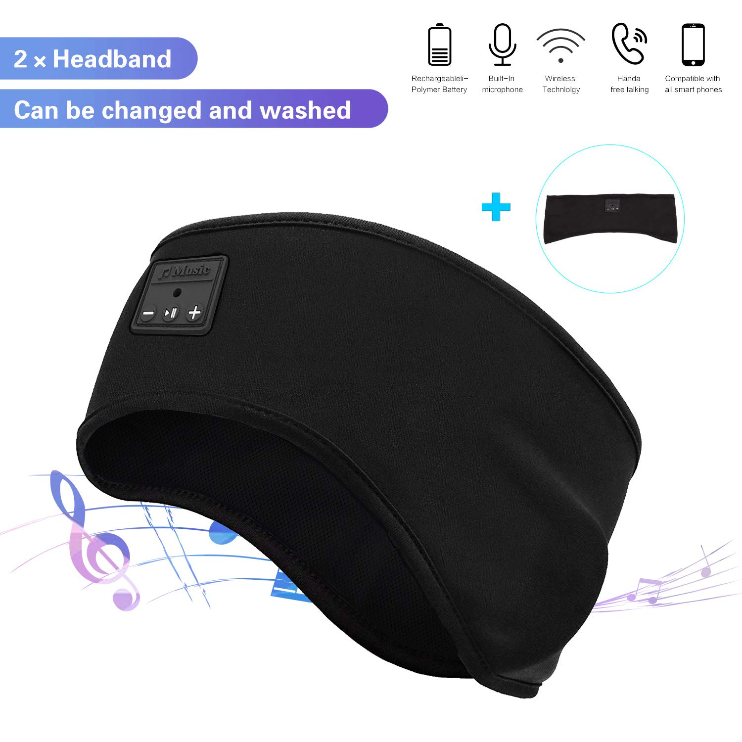 Manfiter Sleep Headphones, Sports Sleep Headband 2 in 1 Sports Sweatband Wireless Bluetooth V5.0 Noise Cancelling Headband Headphones with Ultra-Thin HD Stereo Speakers for Jogging,Yoga,Side Sleepers