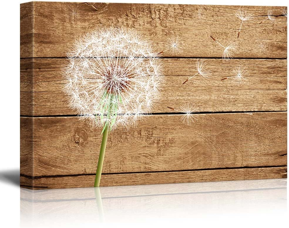 "wall26 - Dandelion on Vintage Wood Background - Canvas Art Wall Decor - 16""x24"""
