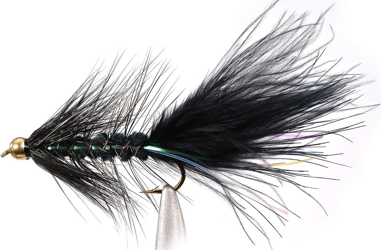 One Dozen 10 Black//Brown 8 4 Sizes 6 Bead Head Wooly Bugger Flies 12