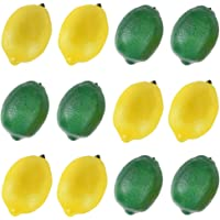 BigOtters 12pcs Fake Lemons, Faux Lemon Plastic Artificial Lemon for Home Kitchen Table Cabinet Party Decor Photography Prop, Yellow and Green