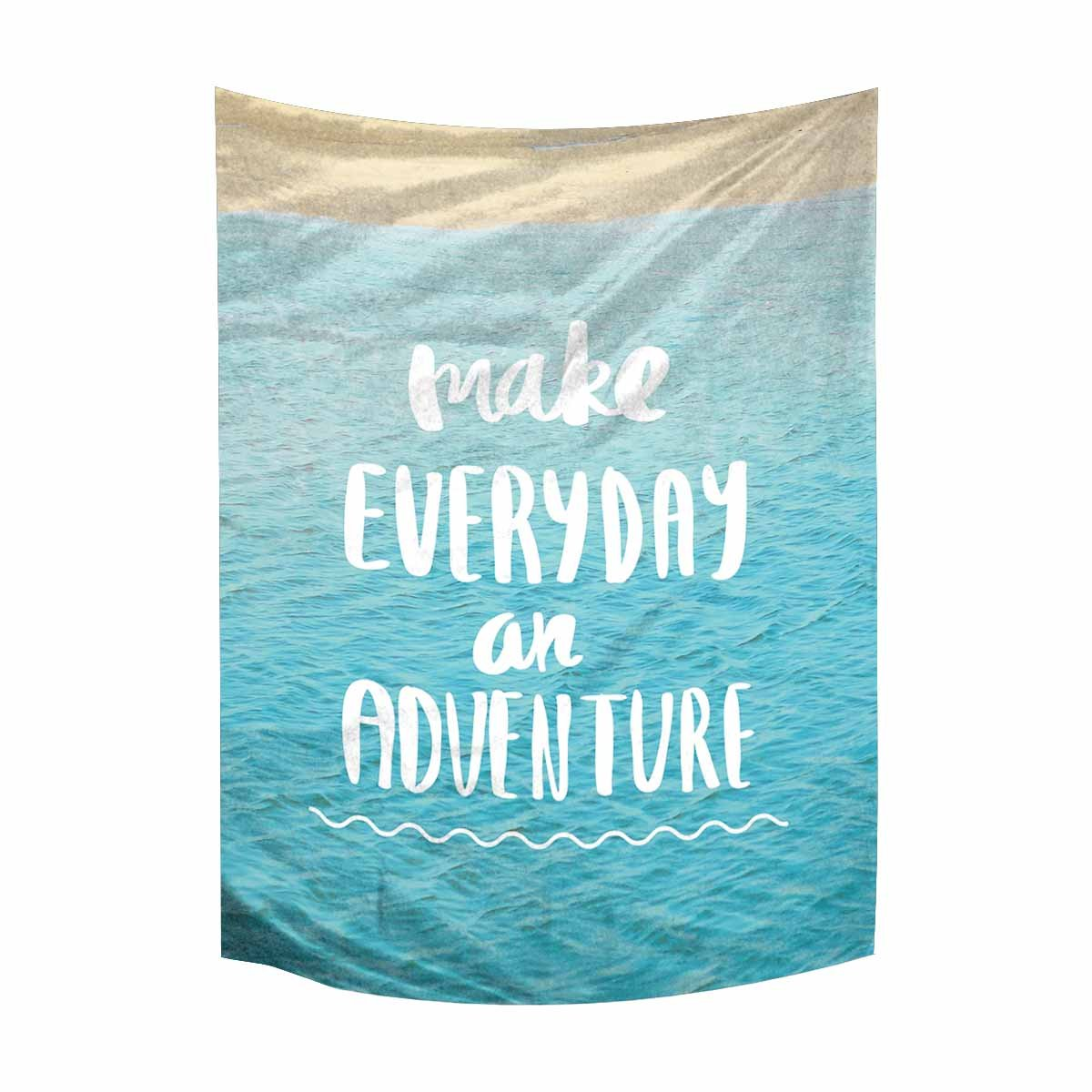 InterestPrint Inspirational Quote On Blue Ocean Sea Make Everyday an Adventure Tapestry Wall Hanging Tapestries Wall Art Home Decor for Bedroom Living Room Dorm, 40W X 60L inch
