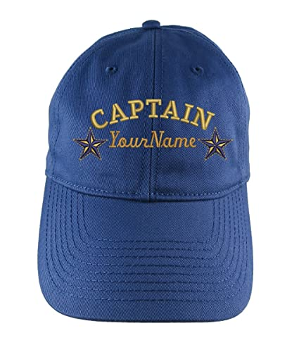 d8e26599b023a Amazon.com  Custom Personalized Captain Stars Name Embroidery on an  Adjustable Unstructured Indigo Blue Baseball Cap Dad Hat + Options  Handmade