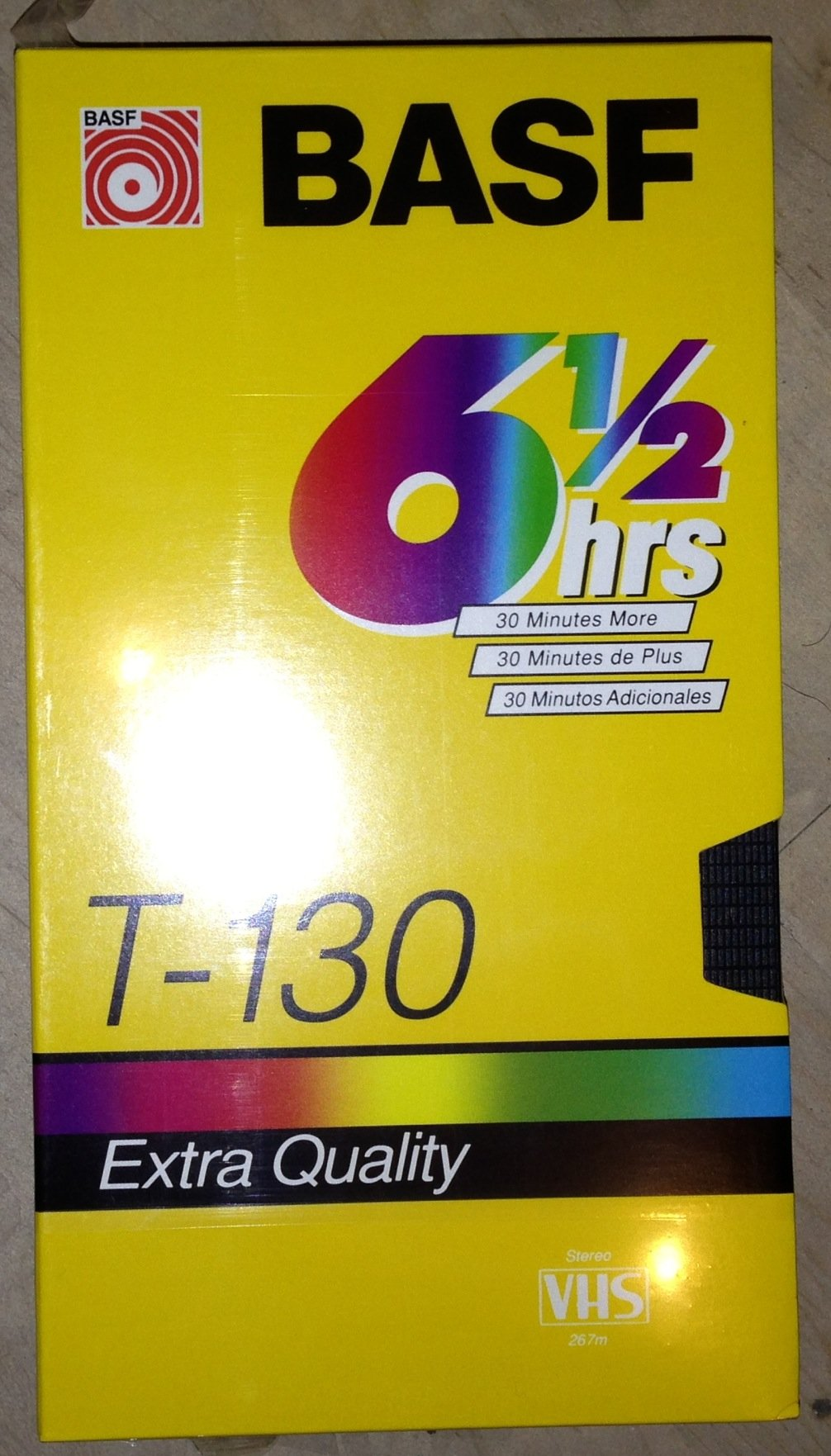 BASF T-130 6 1/2 Hour Extra Quality Blank VHS Tape (Video Cassette Recording Tape)