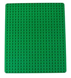 "Classic Stackable Baseplate for Large Building Bricks by Strictly Briks | 100% Compatible with All Major Brands | Large Pegs for Toddlers | Single Large Tight Fit Base Plate in Green (16.25"" x 13.75"")"