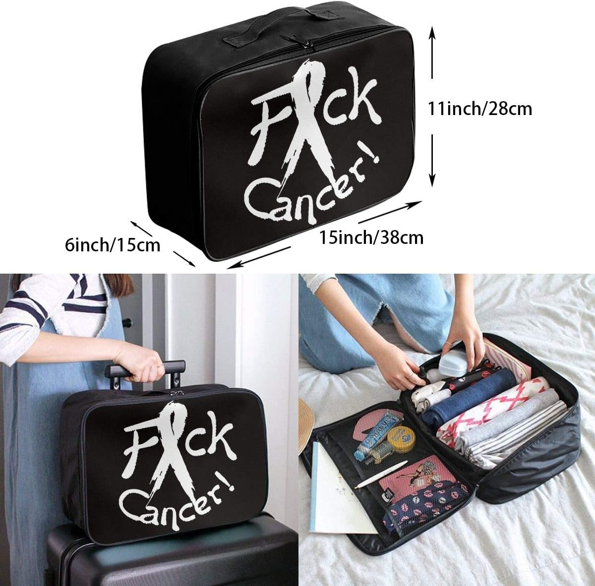 Fck Cancer Carry Lightweight Large Capacity Portable Outdoor Luggage Trolley Bag