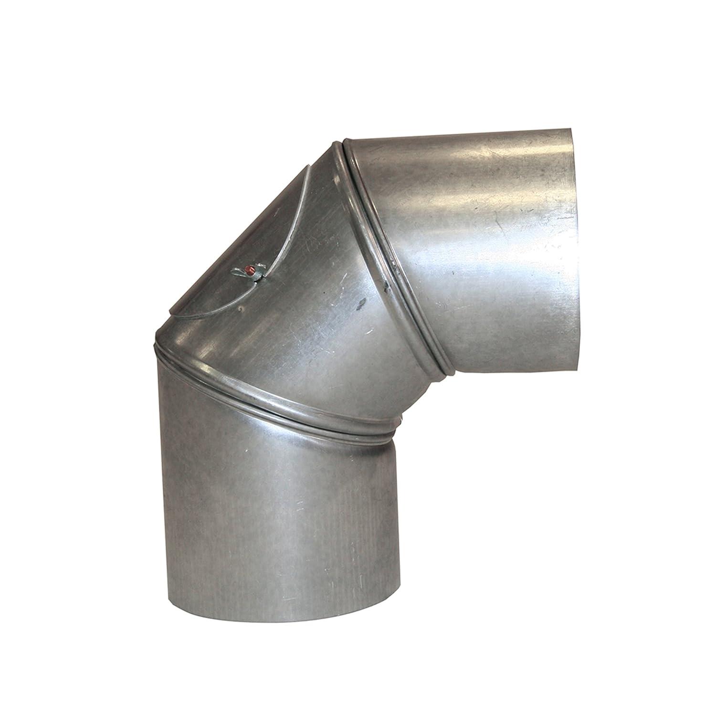 Kamino - Flam - Codo con puerta para chimenea o estufa de leña (Ø 120 mm/ángulo 90°C) Codo vitrificado, Codo de escape - resistente a altas temperaturas ...