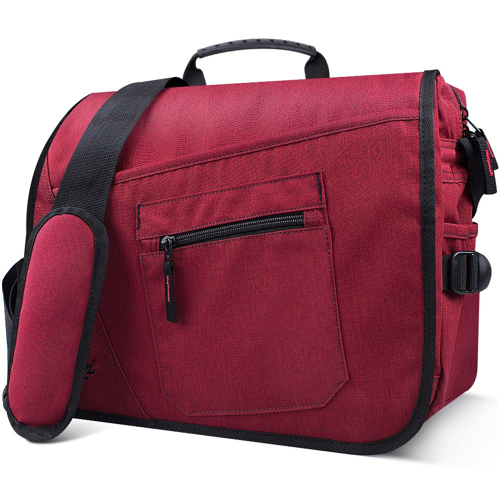 Qipi Messenger Bag - Pocket Rich Satchel Shoulder Bag for Men & Women - with 15.6 inch Laptop Compartment (Candy Red)