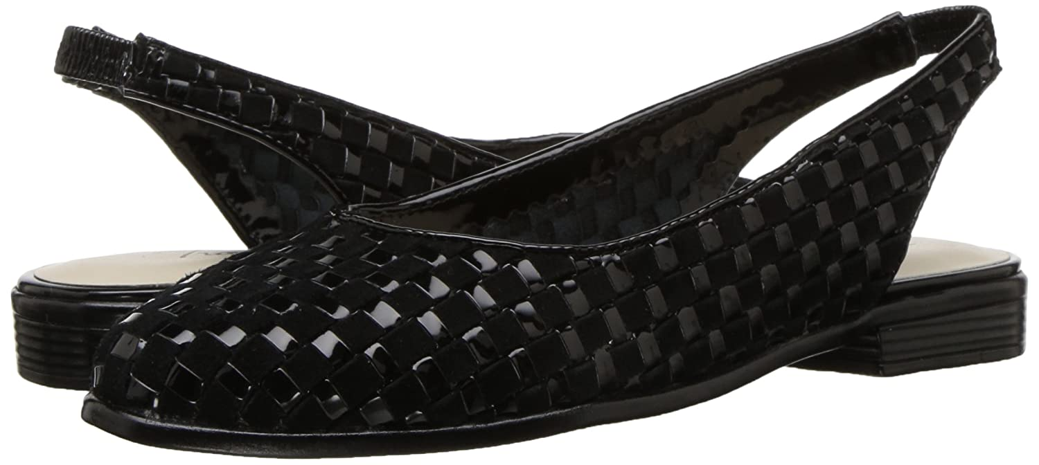 Trotters Women's Lucy Ballet Flat B01NCOVAF4 7 2W US|Black Suede/Patent