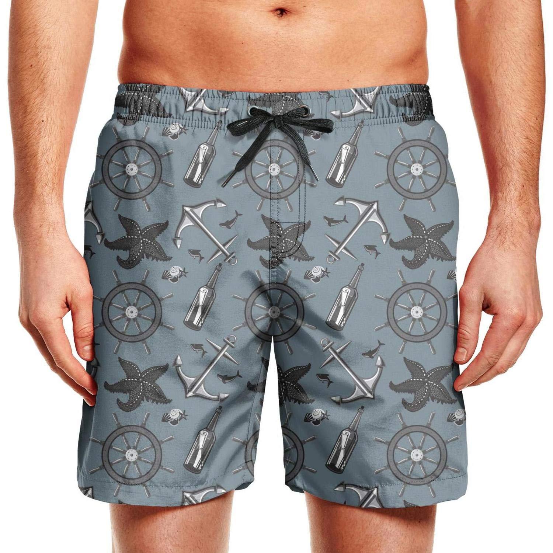CCBING Sea Anchors Starfish Printed Mens Cool Beach Swim Trunk Drawstring Elastic Waist Swimwear