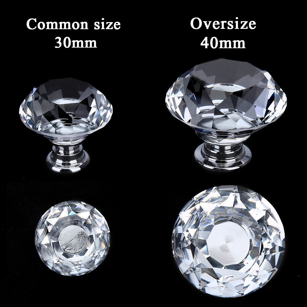 MELODIE DIRECT 10PCS 40MM Diamond Crystal Glass Cabinet Knobs Cupboard Drawer Pull Handle,3 Size Screws by MELODIE DIRECT (Image #2)