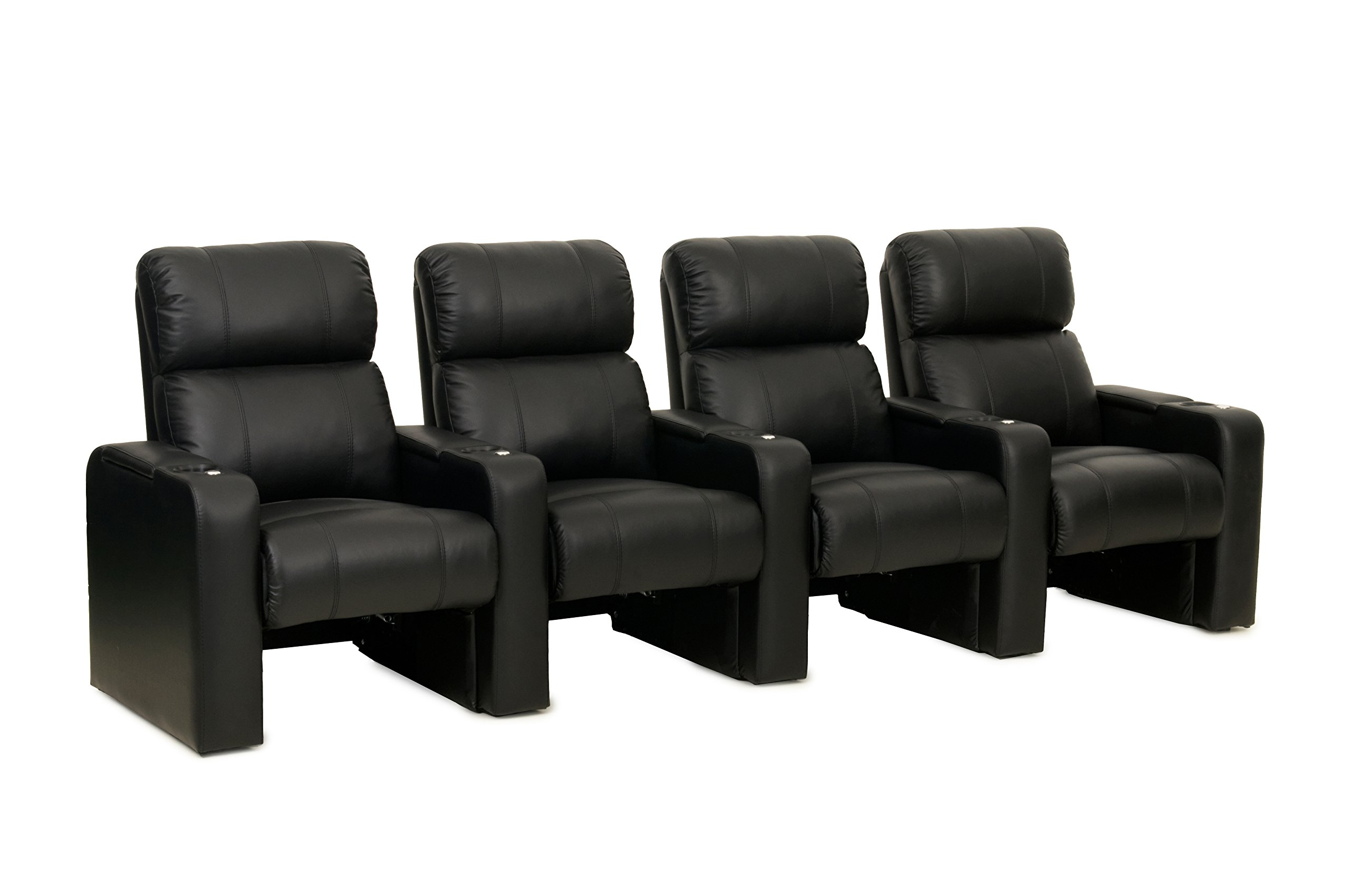 Jet ZR600 Home Theatre Rocker - Octane Seating - Bonded Leather - Accessory Dock - Straight Row of 4 Movie Chairs
