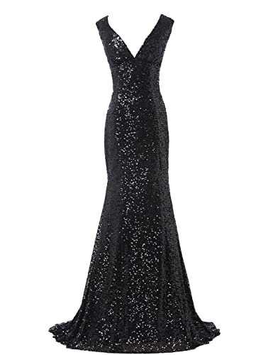 Belle House Women's Sequins Deep V-neck Ball Evening Prom Gown Bridesmaid Dress