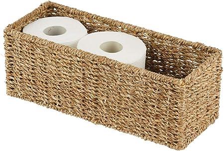 ORDEN Y ELEGANCIA: La práctica cesta tejida es un ideal organizador para baño. Los rollos de papel h