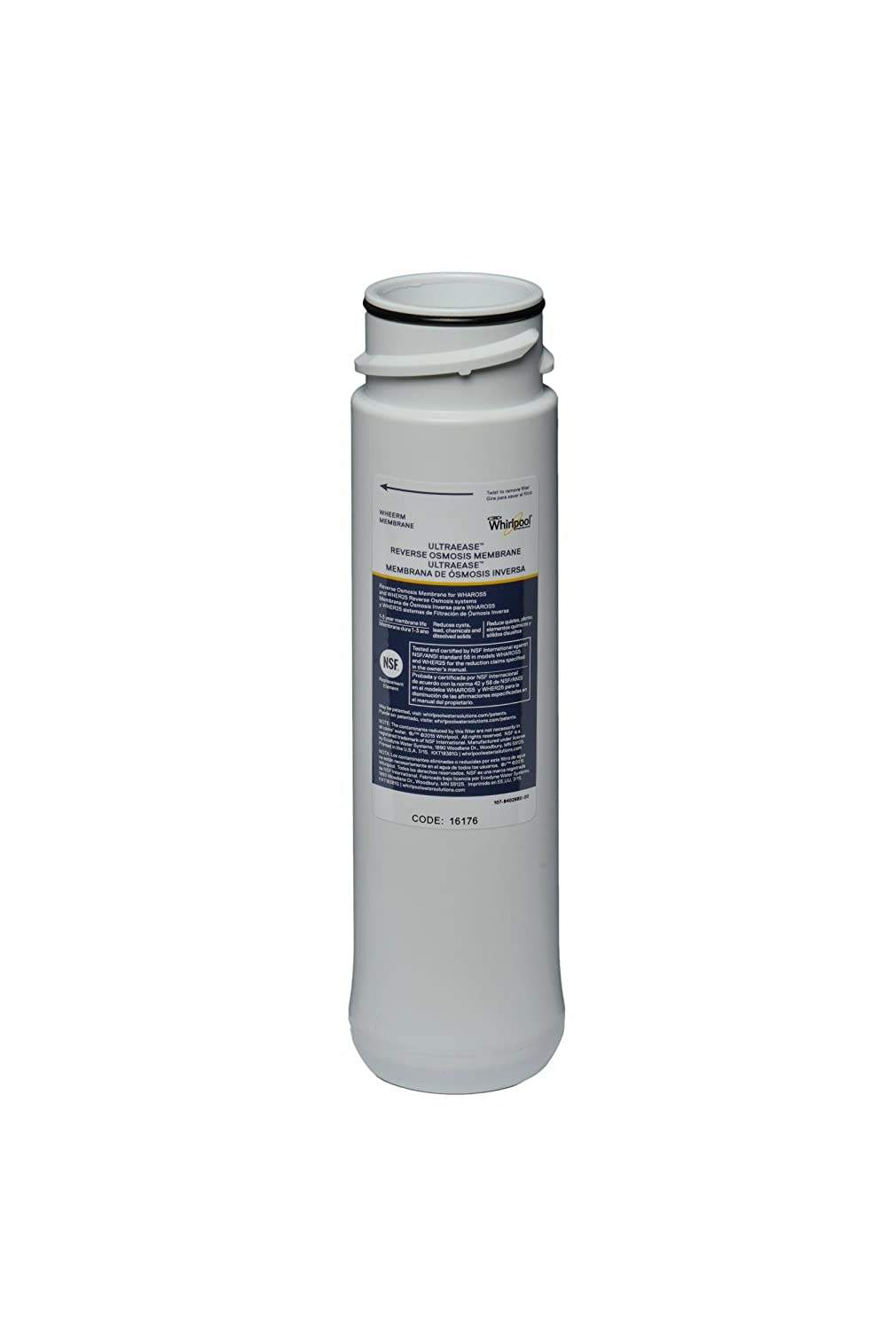 Whirlpool WHEERM Reverse Osmosis Replacement Membrane — Compatible With WHAPSRO, WHAROS5 & WHER25 Filtration Systems | Reduces Metals For Contaminant-Free, Great Tasting Water | 1-2 Year Lifespan