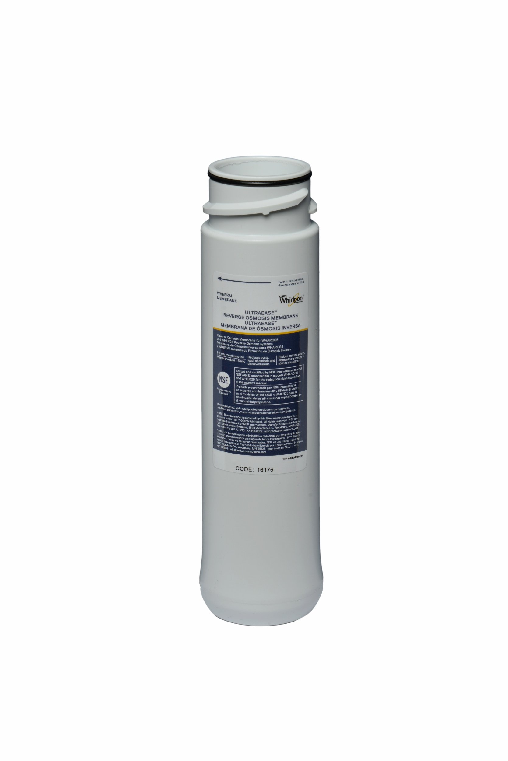 Whirlpool WHEERM Reverse Osmosis Replacement Membrane (Fits Systems WHAROS5, WHAPSRO & WHER25)
