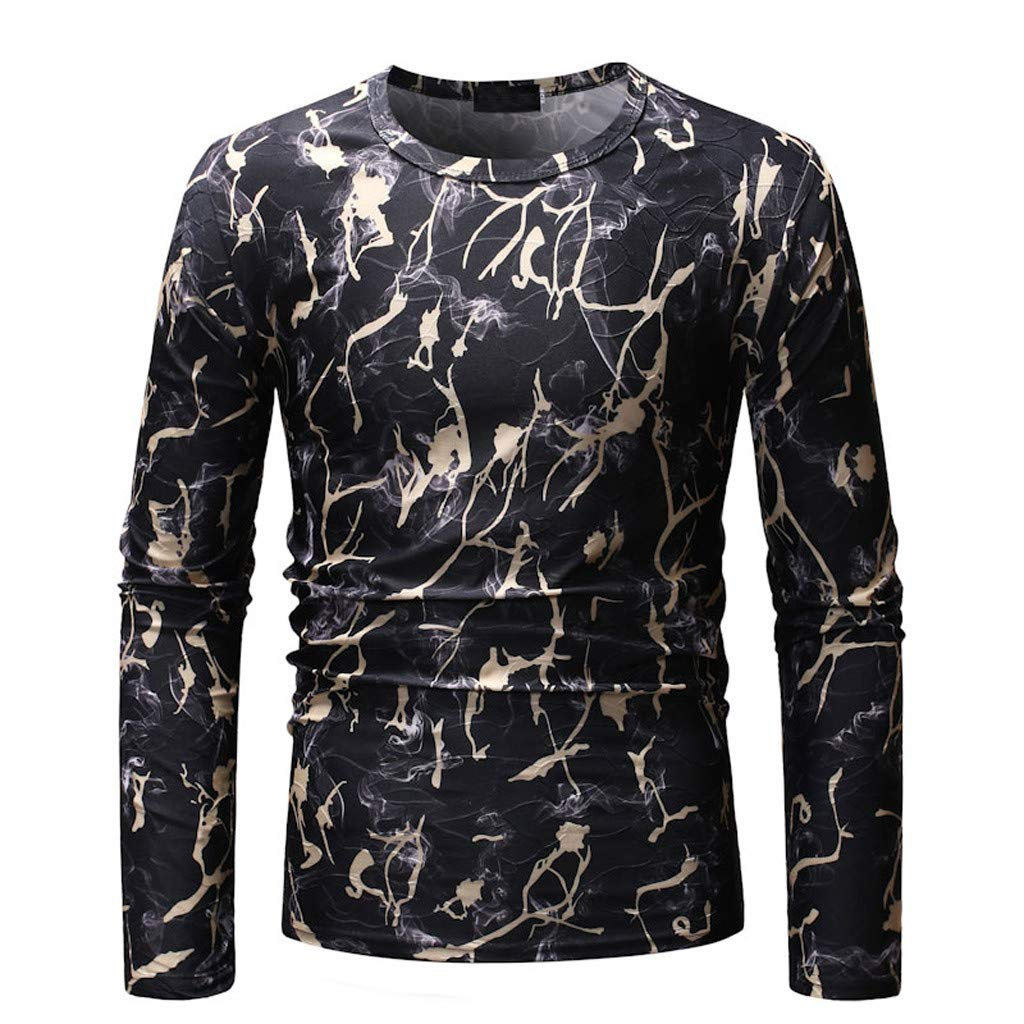 Men O-Neck Printed Blouse,Long Sleeve Shirt Pullover Top Casual Blouse,SUNSEE Teen New by Sunsee (Image #5)