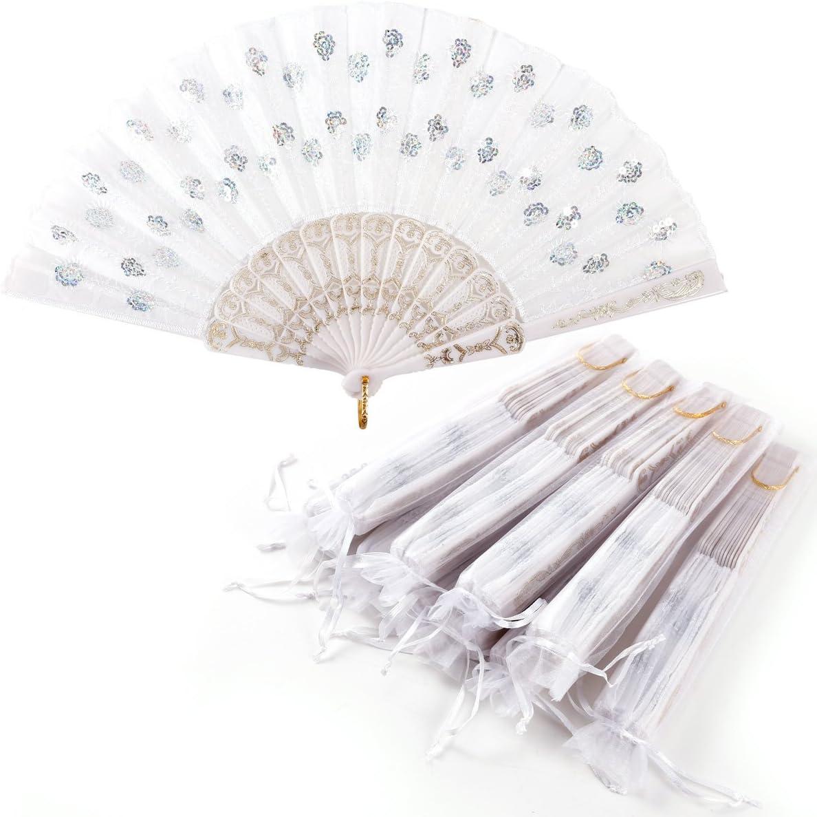 Surepromise Lote 10 uds. Abanicos de Tela Bordado + 10 pcs Bolsita de Organza para Invitado Boda Fiesta (Blanco)