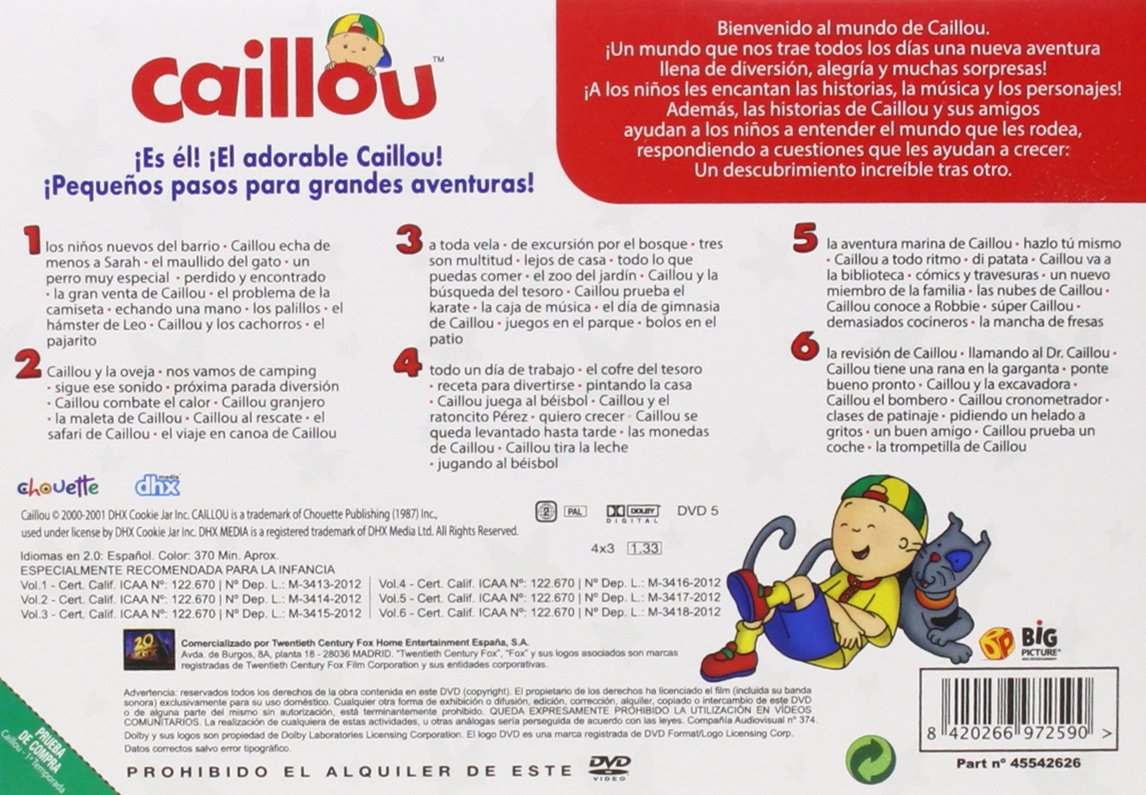 Amazon.com: Caillou - Temporada 1, Volúmenes 1-6, idioma español: Movies & TV