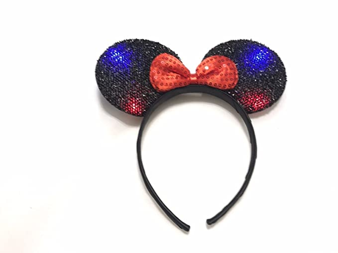 Amazoncom Minnie Mickey Mouse Ears Headbands Red Sequin Flashing
