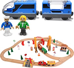 55Pcs Wooden Train Set + Battery Operated Action Locomotive Train (Magnetic Connection)-Fits Thomas, Chuggington, Melissa- Gift Packed Toy Railway Kits- Kids Friendly Building Toy for 3 4 5 Years Old
