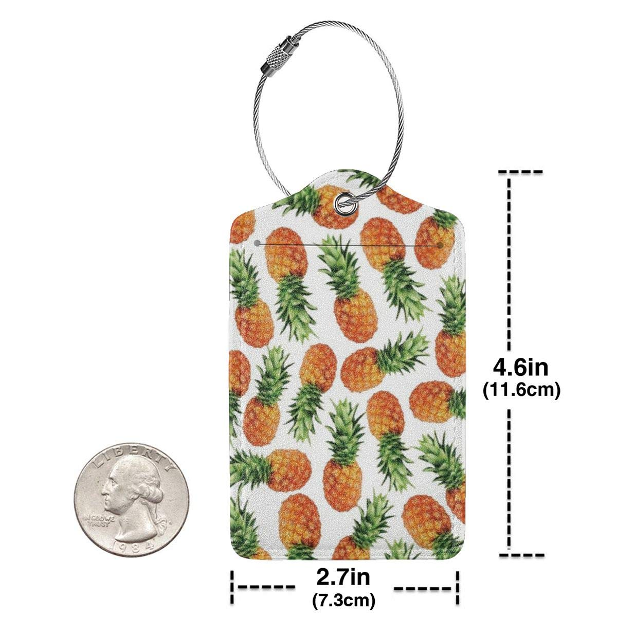 Hawaii Tropical Pineapple 2.7 x 4.6 Blank Tag Leather Luggage Tags Full Privacy Cover and Stainless Steel Loop 1 2 4 Pcs Set Key Tags for Instrument Baggage Bag Gift