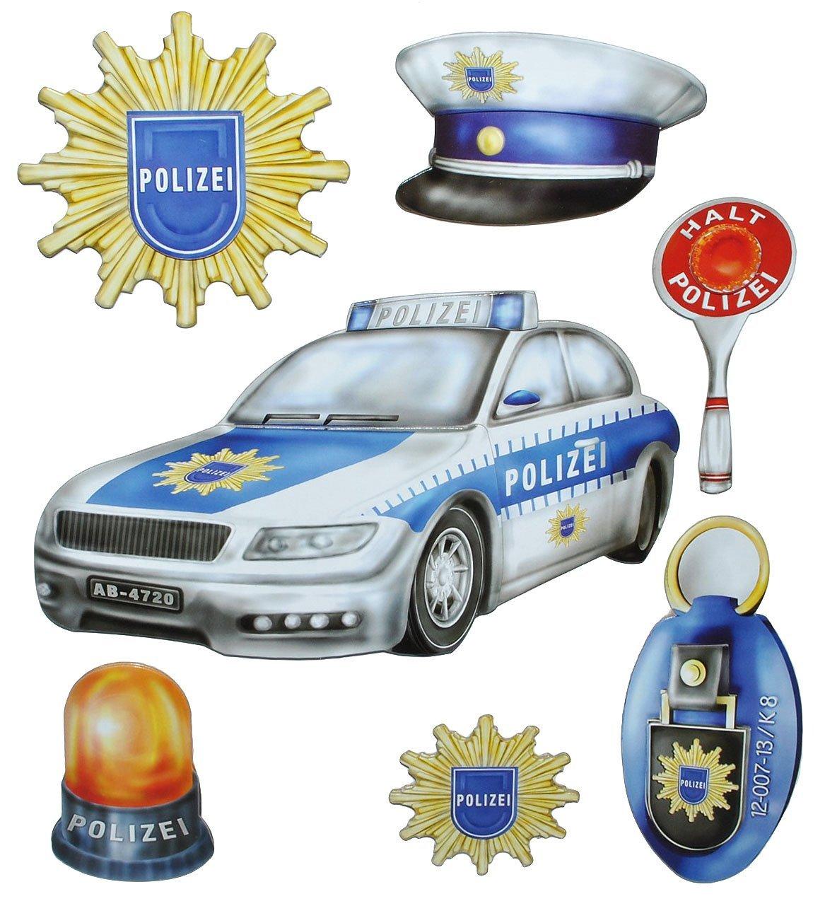 7 tlg. Set: 3-D ! Wandtattoo / XL Sticker aus Pappe - Polizei ...