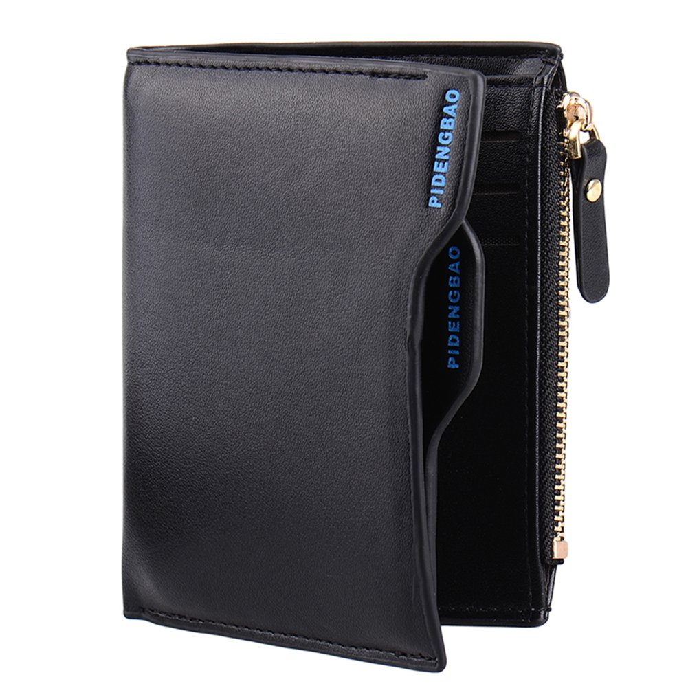 Men's Soft PU Faux Leather Wallet with Zipper around Coin Purse & ID Credit Card holder Clutch Bifold Wallet Pockets