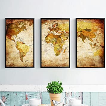 Amazon.com: World Map Modern Gallery Oil Painting Print Unframed ...