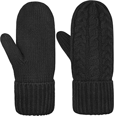 Women's Mittens Winter Thick Gloves Warm Lining Cozy Cable Knit Glove  (Black) at Amazon Women's Clothing store