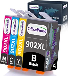 OfficeWorld Compatible Ink Cartridges Replacement for HP 902XL 902 XL Used for OfficeJet Pro 6968 6978 6958 6962 6960 6970 6979 6954 6975 Printer, 4-Pack (1 Black, 1 Magenta, 1 Cyan, 1 Yellow)