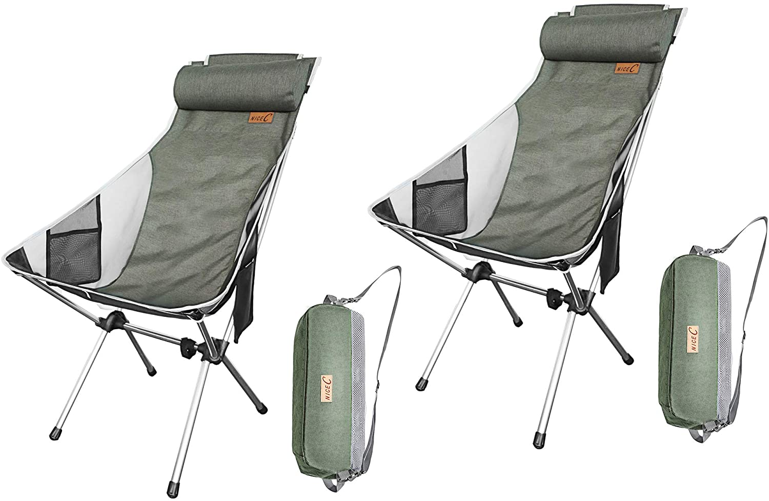 BBQ Camping Backpacking Compact /& Heavy Duty Outdoor Travel Beach Outdoor Picnic Nice C Ultralight High Back Folding Camping Chair Festival with Carry Bag with Headrest