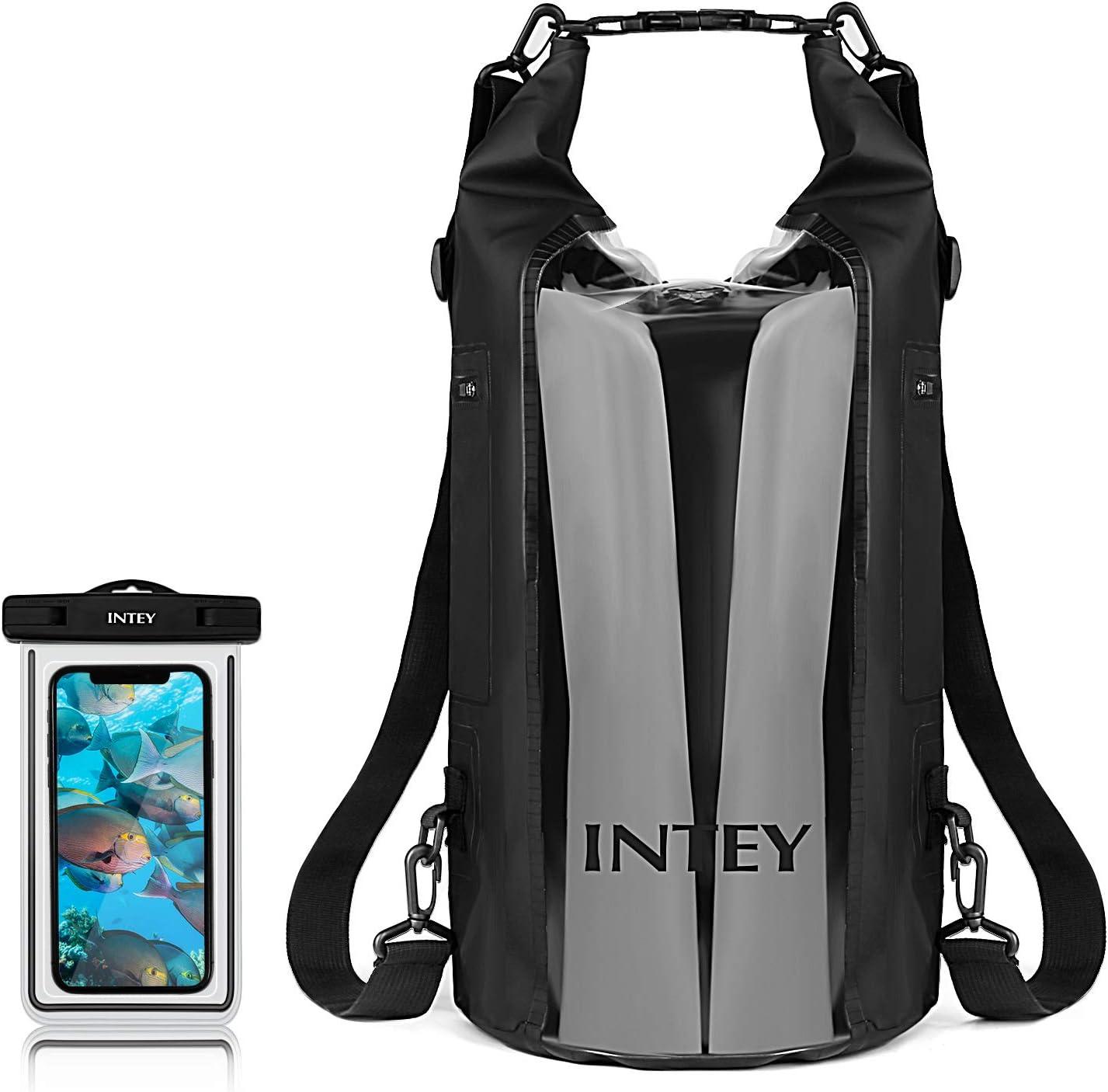 INTEY 30L Dry Bag,Anti-Water 100% Floating Storage Bag for Kayaking,Camping, Traveling, Rafting,Fishing,Hiking,Skiing,Water Sports, Black