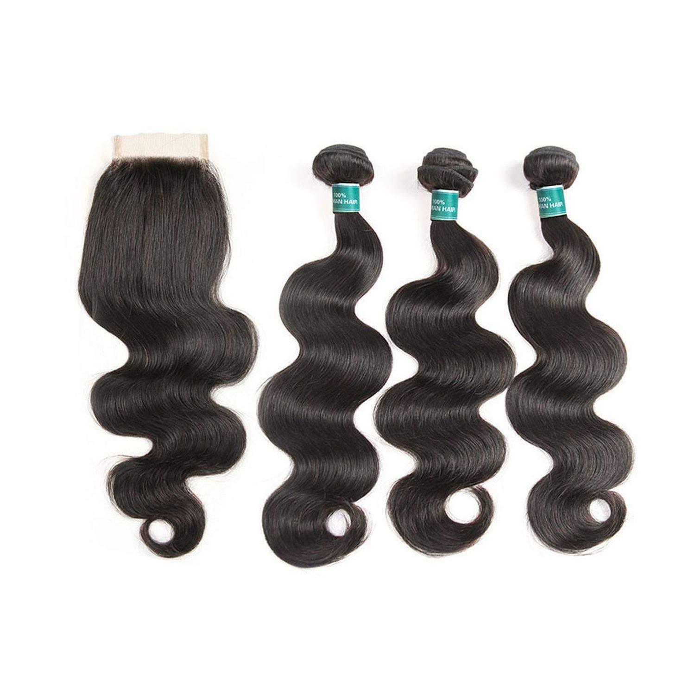 Human Hair Bundles With Closure 3 4 Bundles With Closure Remy Hair Extension Straight Hair Bundles With Closure,24 24 24 & Closure20,Three Part