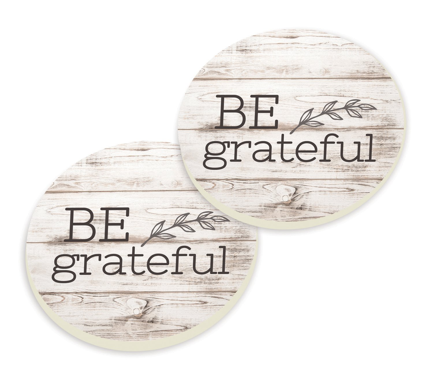 Be Grateful Typewriter Design Wood Look Set of 2 Ceramic Car Coaster Pack