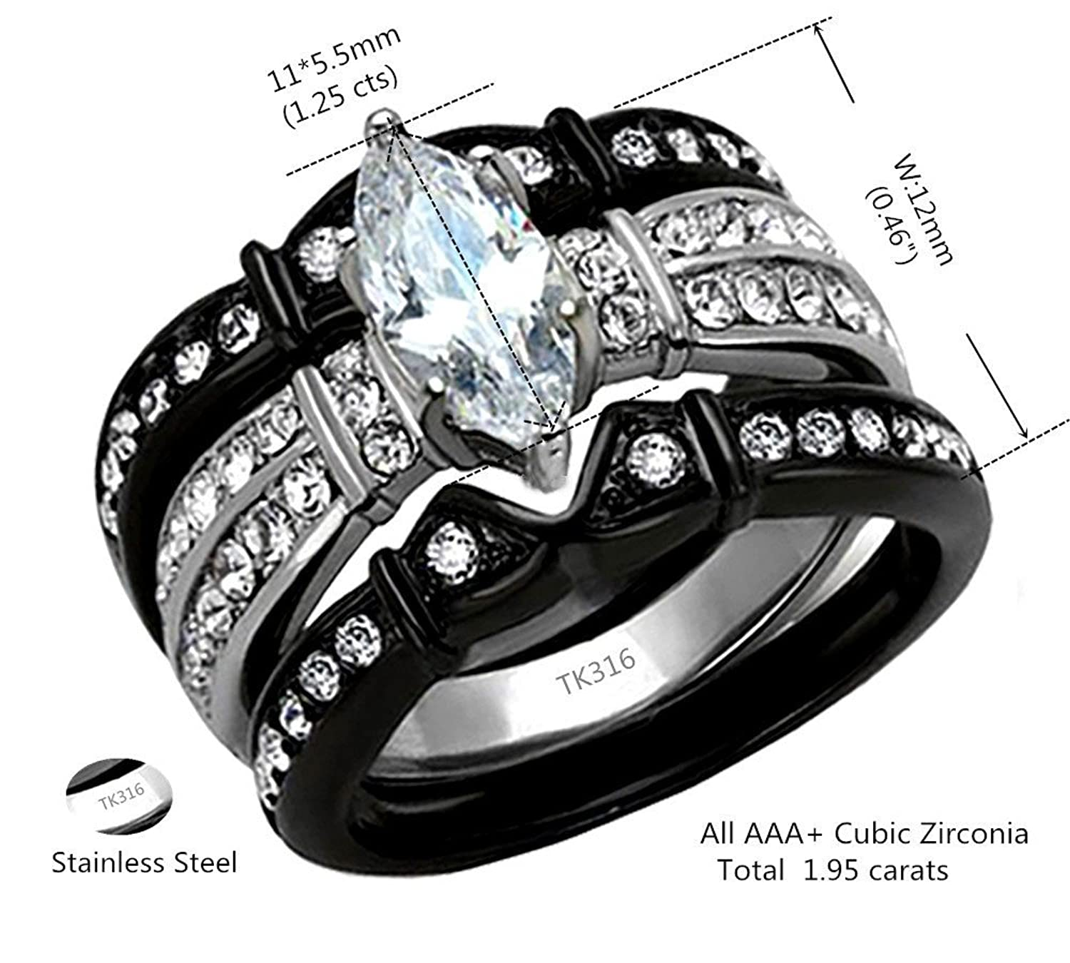 Amazon: His And Hers Wedding Ring Sets Couples Matching Rings Black  Women's Stainless Steel Cubic Zirconia Wedding Engagement Ring Bridal Sets  & Men's