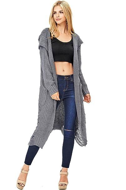 Amazon.com: Hendi Mujer Largo con Capucha Knit chaqueta de ...