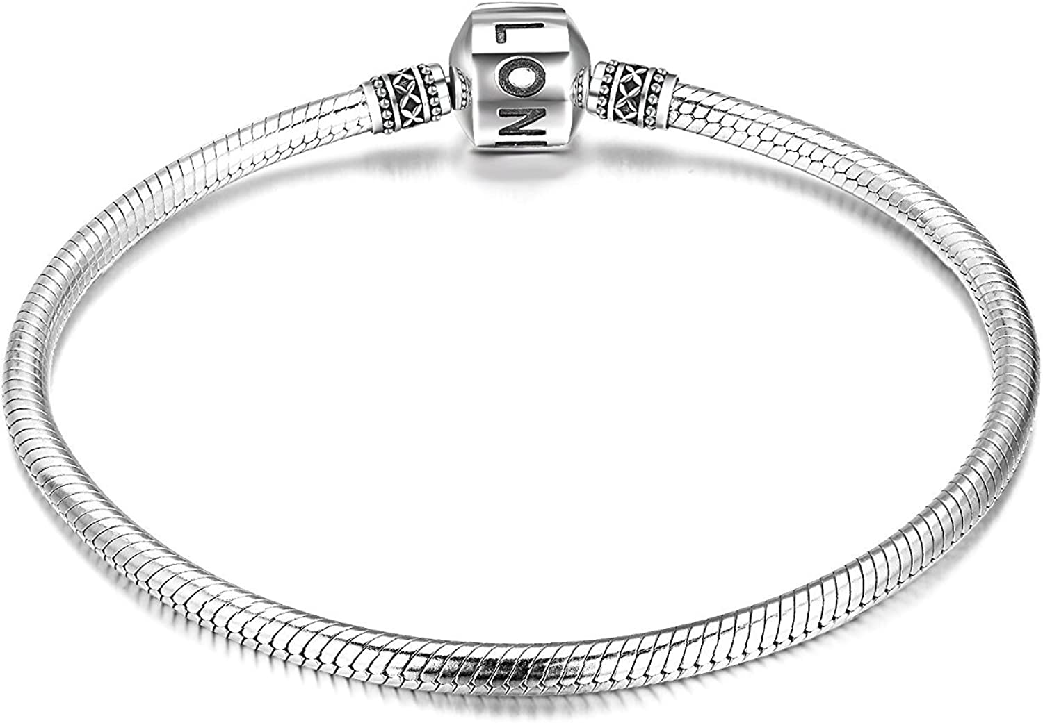 LONAGO Genuine Charm Bracelet 925 Sterling Silver Snake Chain Bangle Barrel Clasp Jewelry Fit Pandora Charm Birthday Gift for Women