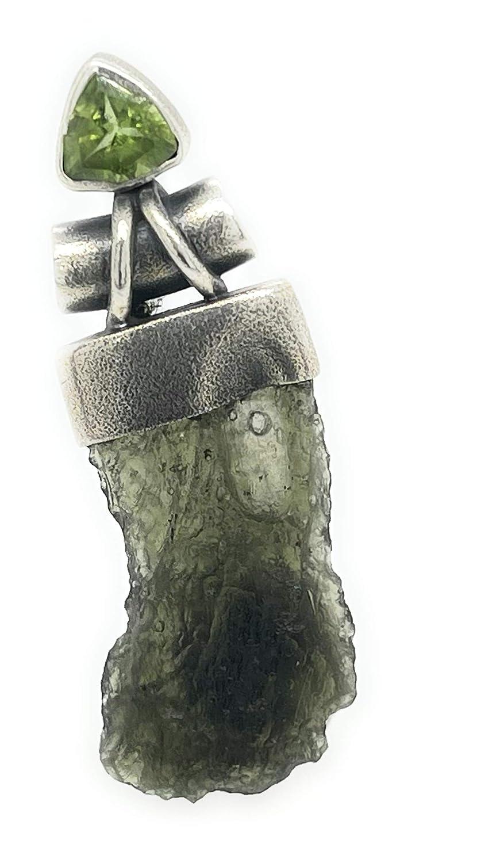 Quartz Manifesting Crystal with Moldavite in Sterling Silver